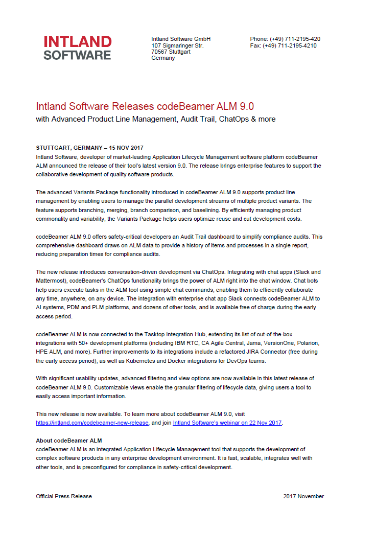 Intland Software Releases codeBeamer ALM 9.0 news