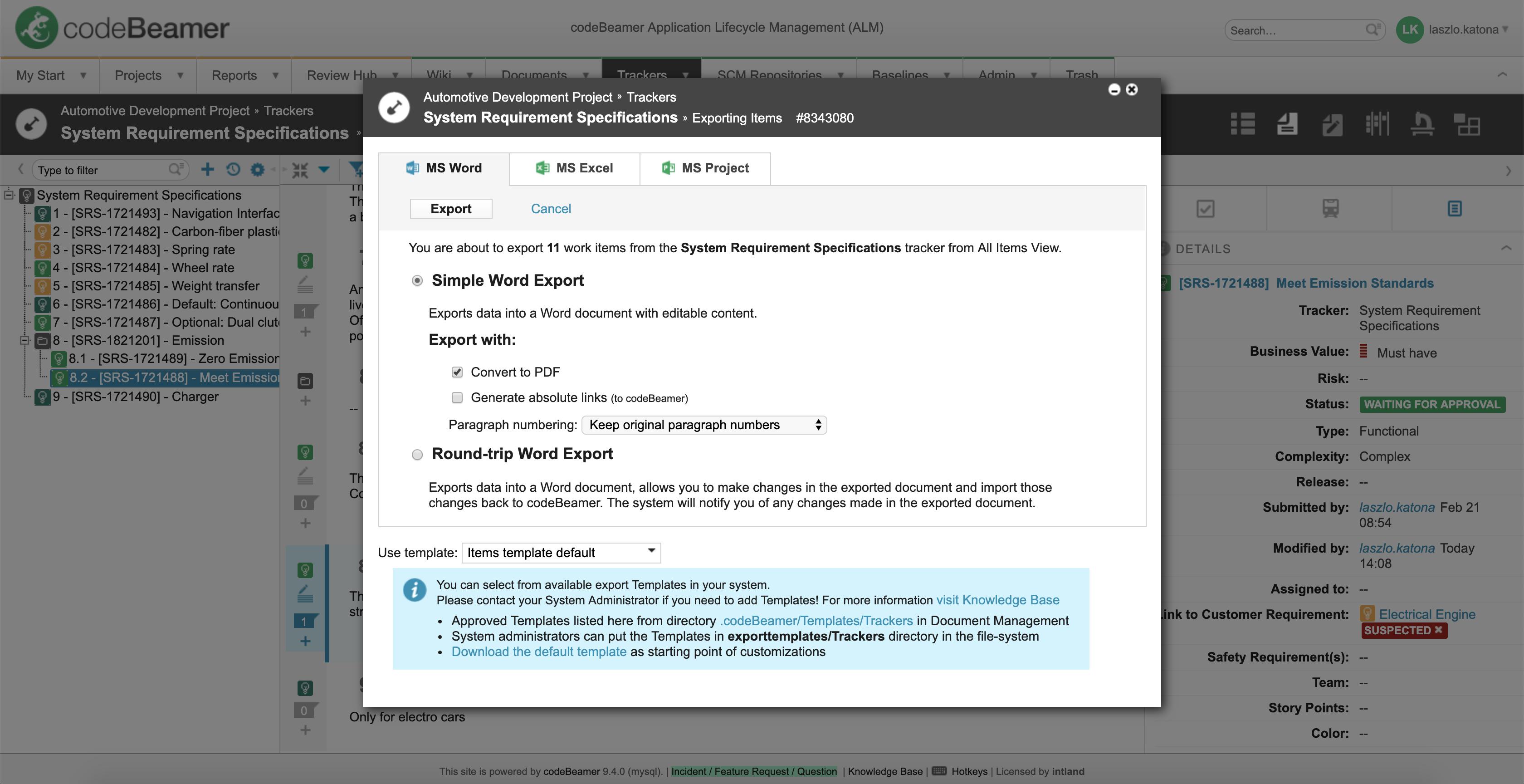RM-Requirements-export-import-integrations codebeamer   Requirements Management Tool